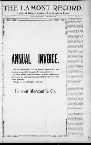 Primary view of object titled 'The Lamont Record. (Lamont, Okla.), Vol. 2, No. 39, Ed. 1 Thursday, January 9, 1908'.