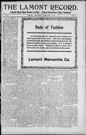 Primary view of object titled 'The Lamont Record. (Lamont, Okla.), Vol. 4, No. 43, Ed. 1 Thursday, February 3, 1910'.