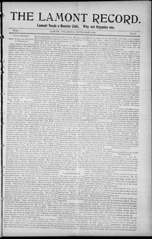 Primary view of object titled 'The Lamont Record. (Lamont, Okla.), Vol. 4, No. 22, Ed. 1 Thursday, September 2, 1909'.