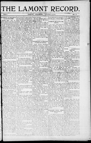 Primary view of object titled 'The Lamont Record. (Lamont, Okla.), Vol. 5, No. 19, Ed. 1 Thursday, August 25, 1910'.