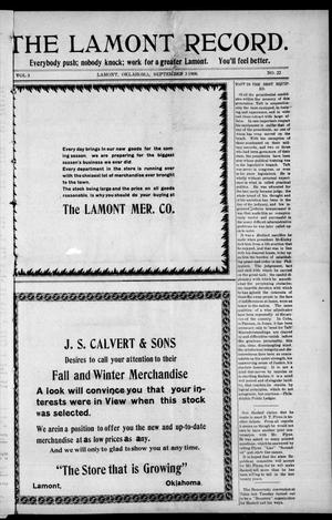 Primary view of object titled 'The Lamont Record. (Lamont, Okla.), Vol. 3, No. 22, Ed. 1 Thursday, September 3, 1908'.