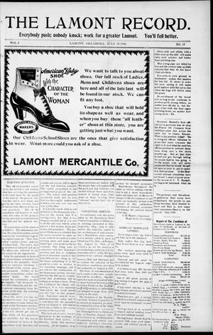 Primary view of object titled 'The Lamont Record. (Lamont, Okla.), Vol. 3, No. 17, Ed. 1 Thursday, July 30, 1908'.