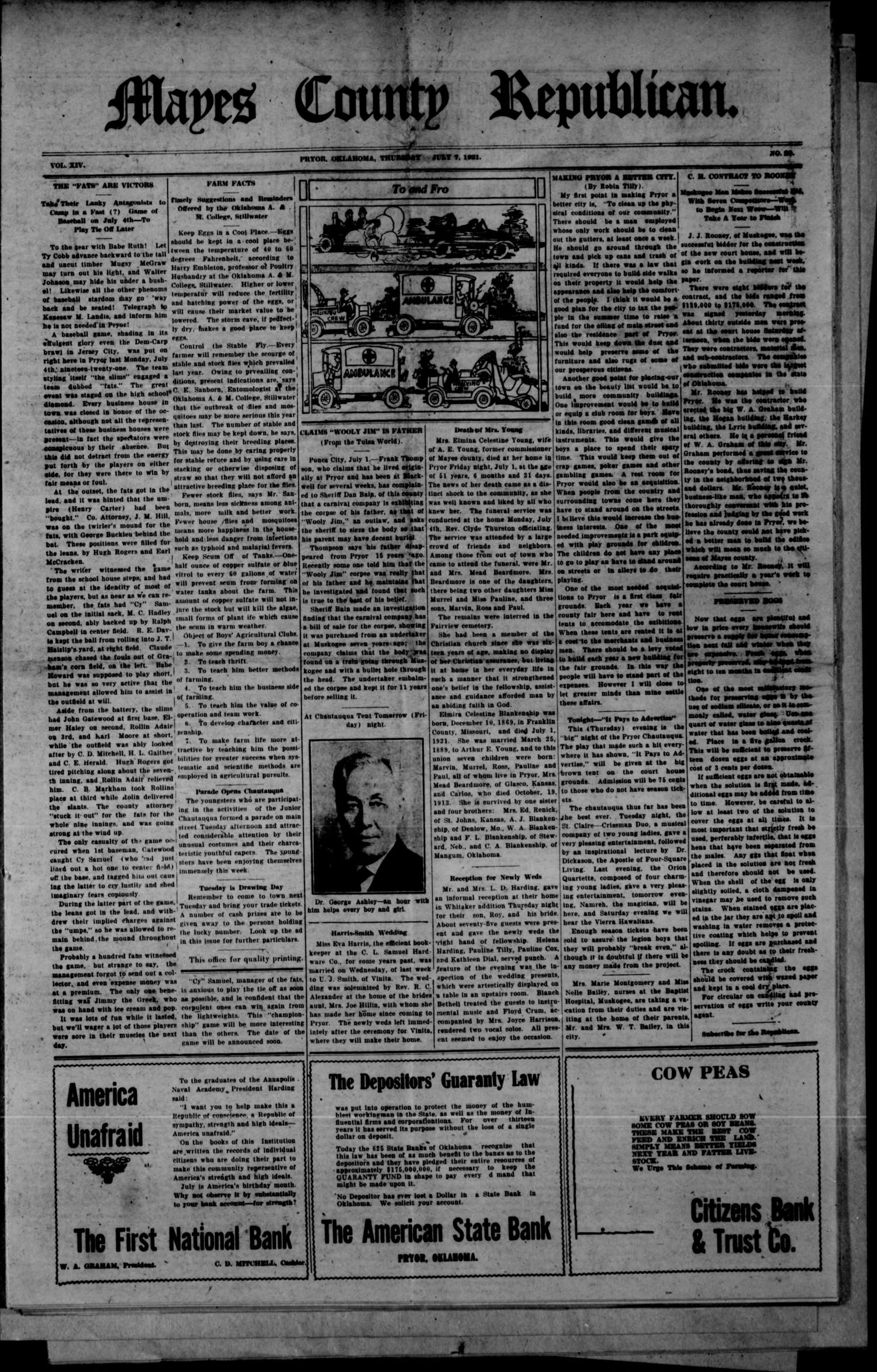 Mayes County Republican. (Pryor, Okla.), Vol. 14, No. 20, Ed. 1 Thursday, July 7, 1921                                                                                                      [Sequence #]: 1 of 8