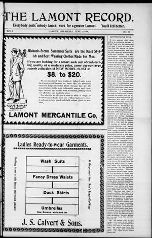 Primary view of object titled 'The Lamont Record. (Lamont, Okla.), Vol. 3, No. 10, Ed. 1 Thursday, June 11, 1908'.