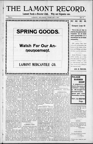 Primary view of object titled 'The Lamont Record. (Lamont, Okla.), Vol. 3, No. 44, Ed. 1 Thursday, February 4, 1909'.