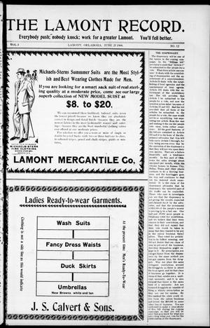 Primary view of object titled 'The Lamont Record. (Lamont, Okla.), Vol. 3, No. 12, Ed. 1 Thursday, June 25, 1908'.