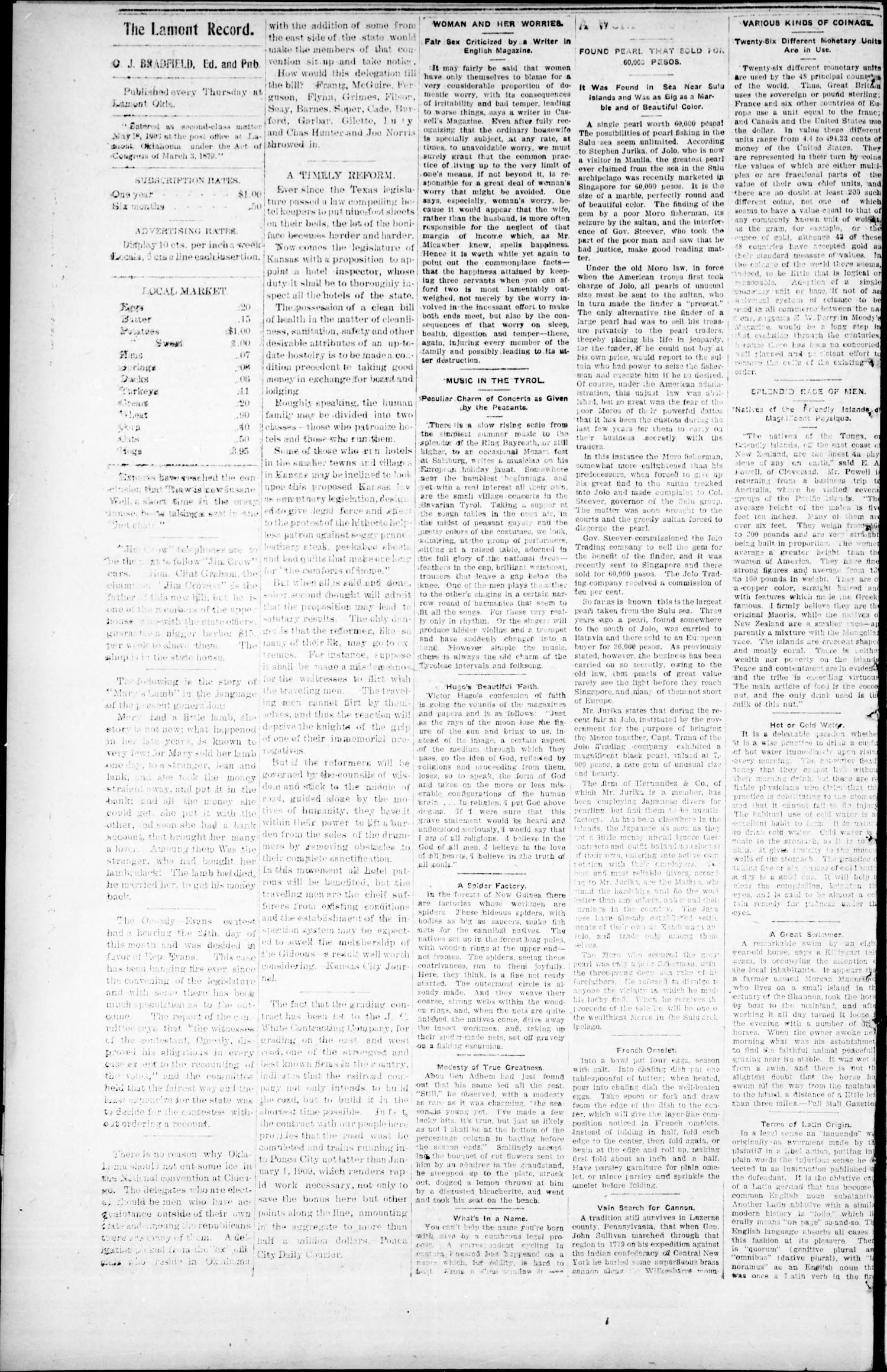 The Lamont Record. (Lamont, Okla.), Vol. 2, No. 43, Ed. 1 Thursday, January 30, 1908                                                                                                      [Sequence #]: 4 of 8