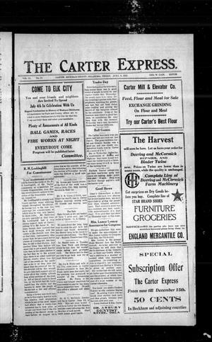 Primary view of object titled 'The Carter Express. (Carter, Okla.), Vol. 13, No. 12, Ed. 1 Friday, June 9, 1922'.