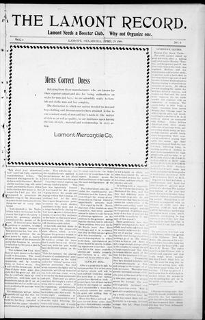 Primary view of object titled 'The Lamont Record. (Lamont, Okla.), Vol. 4, No. 4, Ed. 1 Thursday, April 29, 1909'.