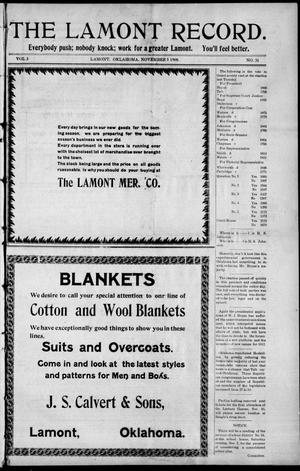 Primary view of object titled 'The Lamont Record. (Lamont, Okla.), Vol. 3, No. 31, Ed. 1 Thursday, November 5, 1908'.