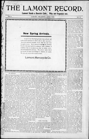 Primary view of object titled 'The Lamont Record. (Lamont, Okla.), Vol. 3, No. 52, Ed. 1 Thursday, April 1, 1909'.