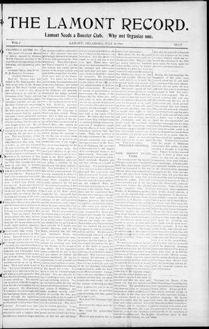 Primary view of object titled 'The Lamont Record. (Lamont, Okla.), Vol. 4, No. 17, Ed. 1 Thursday, July 29, 1909'.