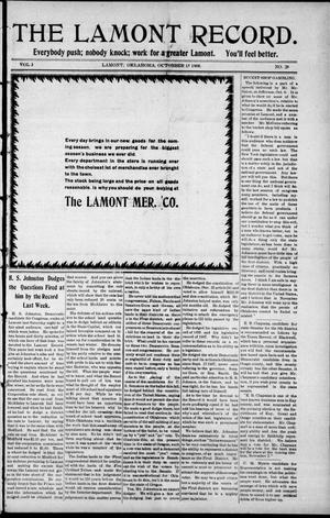 Primary view of object titled 'The Lamont Record. (Lamont, Okla.), Vol. 3, No. 28, Ed. 1 Thursday, October 15, 1908'.