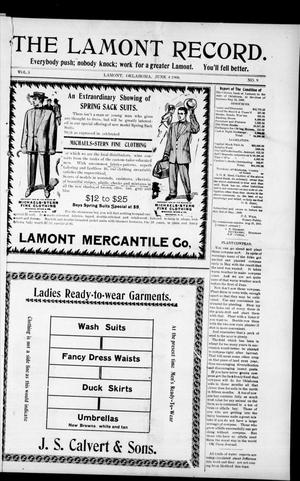Primary view of The Lamont Record. (Lamont, Okla.), Vol. 3, No. 9, Ed. 1 Thursday, June 4, 1908