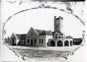 Primary view of object titled 'Santa Fe Passenger Depot in Shawnee, Oklahoma'.