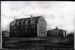 Primary view of object titled 'Congregational Church and High School in Vinita, Oklahoma'.