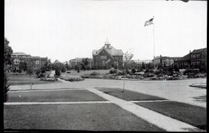 Primary view of object titled 'Gunderson Hall, Old Central and the Library at Oklahoma State University in Stillwater, Oklahoma'.