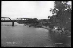 Primary view of object titled 'Railroad Bridge and Boat Landing on the Arkansas River'.