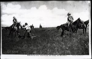 Primary view of object titled 'Branding Cattle on the 101 Ranch in Bliss, Oklahoma'.