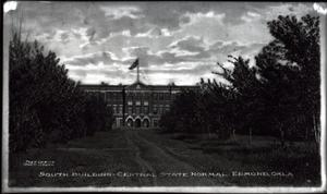 Primary view of object titled 'South Building at Central State Normal College in Edmond, Oklahoma'.