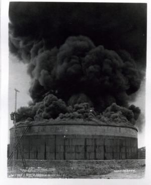 Primary view of object titled 'Burning Oil Tank near Tulsa, Oklahoma'.