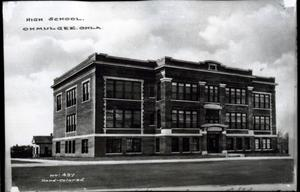 Primary view of object titled 'Okmulgee High School in Okmulgeee, Oklahoma'.