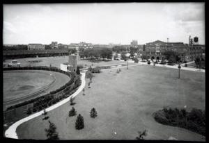Primary view of object titled 'University of Oklahoma Track Field, Football Scooreboard, Reflecting Field and Field House in Norman, Oklahoma.'.