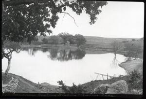 Primary view of object titled 'Reservoir, Boating, Fishing and Bathing Lake at the Chickasaw National Park Recreation Area near Sulphur, Oklahoma'.