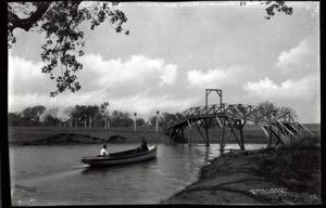 Primary view of object titled 'Belle Isle Boat and Bridge in Oklahoma City, Oklahoma'.