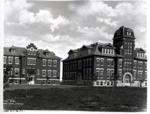 Primary view of object titled 'Main Hall and Fine Arts Building at Oklahoma Christian University in Enid, Oklahoma'.