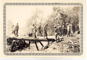 Primary view of object titled 'Soldiers of the 206 Engineers Building Bridge'.