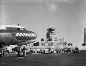 Primary view of object titled 'Braniff Airlines Airplane at Will Rogers Airport'.