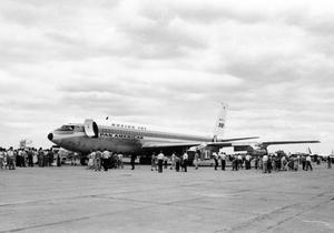 Primary view of object titled 'Pan American Boeing 707 at Civil Aeronautical Administration Center Opening'.