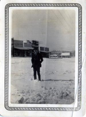 Primary view of object titled 'Man on street in Wanette, Oklahoma'.
