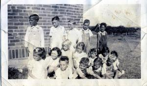 Primary view of object titled 'Group of children at Wanette Grade School in Wanette, Oklahoma'.