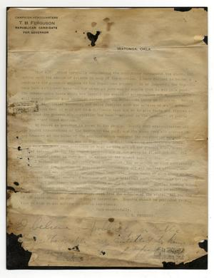 Primary view of object titled 'Letter from TB Ferguson announcing candidacy to Republican Party for Governor of Oklahoma'.