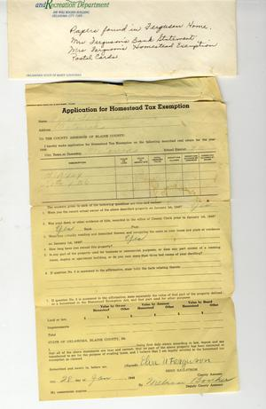 Primary view of object titled 'Application of Homestead Tax Exemption'.