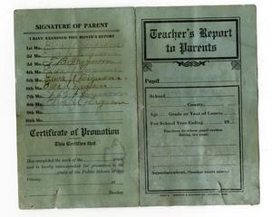 "Primary view of object titled 'Front side of ""Teacher's Report to Parents""'."