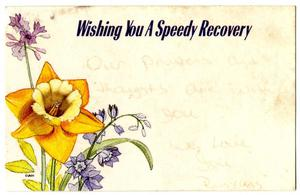 Primary view of object titled 'speedy recovery card'.