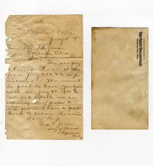 Primary view of object titled 'Letter to TB Ferguson from Thos. R. Jones, Secretary of Roosevelt Republican Club and envelope it came in from the Daily Oklahoman'.
