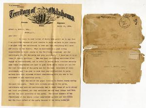 Primary view of object titled 'Page 1 of 3 page letter from TB Ferguson to Albert A. McGill, Esquire, Grand OT'.