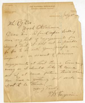 Primary view of object titled 'Letter from TB Ferguson to RG Cox.'.