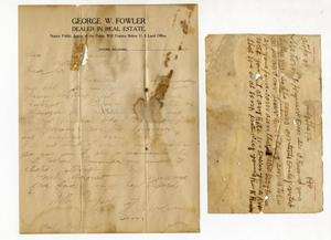 Primary view of object titled 'Two documents attached together (1 to honorable TB Ferguson from George W. Fowler and (2 letter of receipt from Ben R. Reader (?'.
