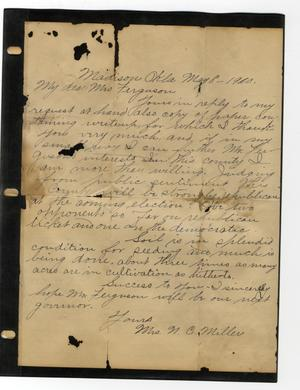 Primary view of object titled 'Letter to  Mrs. Ferguson from Mrs. NC Miller'.
