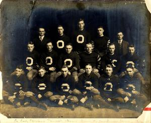 Primary view of object titled 'Oklahoma University football team with coaches photo.'.