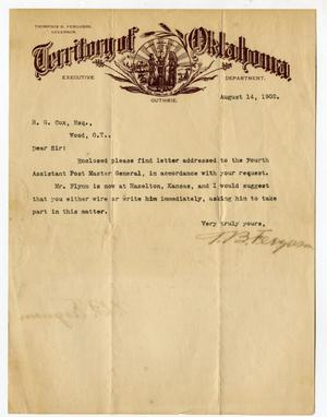Primary view of object titled 'Letter from TB Ferguson to RG Cox'.