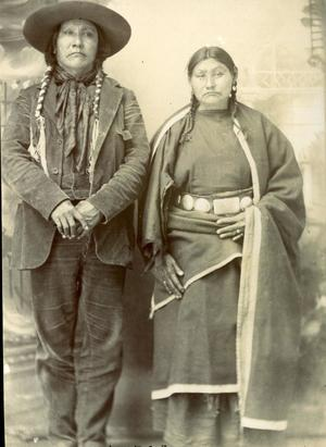 Primary view of object titled 'Black Lodge and wife, Arapaho Indians'.