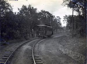 Primary view of object titled 'Interurban Railroad Between Shawnee and Tecumseh'.