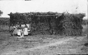 Primary view of object titled 'Cheyenne Children Next to Brush Arbor'.