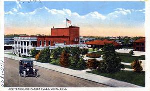 Primary view of object titled 'Vinita Auditorium and Parjer Plaza, Vinita, Oklahoma'.